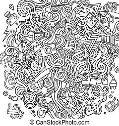 Cartoon cute doodles hand drawn Photo illustration