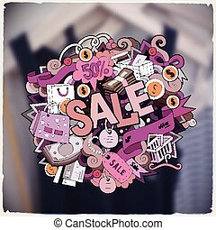 Cartoon cute doodles hand drawn Sale inscription