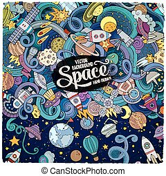 Cartoon cute doodles hand drawn space illustration