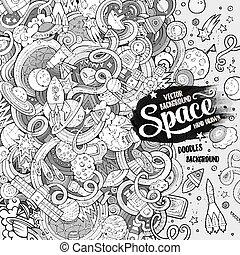 Cartoon cute doodles hand drawn space illustration