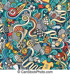Cartoon cute doodles hand drawn Sport seamless pattern. ...