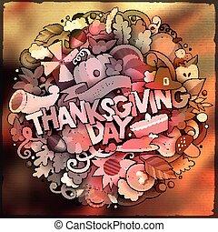 Cartoon cute doodles hand drawn Thanksgiving inscription