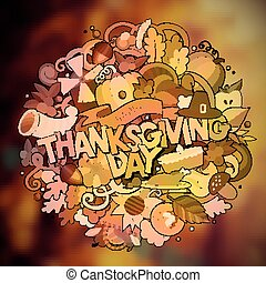 Cartoon cute doodles hand drawn Thanksgiving inscription