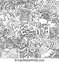 Cartoon cute doodles hand drawn Wedding inscription. Sketchy...