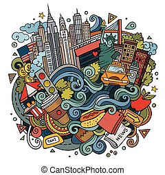 Cartoon cute doodles hand drawn Welcome to New York illustration