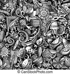 Cartoon cute doodles Latin America seamless pattern. Toned...