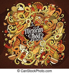 Cartoon cute doodles Mexican food illustration