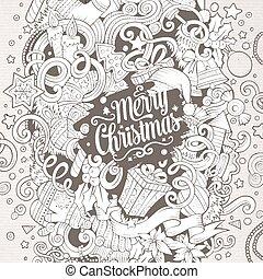 Cartoon cute doodles New Year illustration - Cartoon cute...
