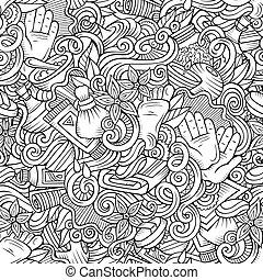 Cartoon cute doodles Spa, Massage seamless pattern - Cartoon...