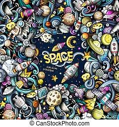 Cartoon cute doodles Space frame card