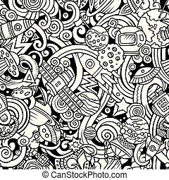 Cartoon cute doodles Space seamless pattern