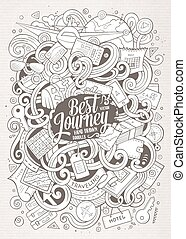 Cartoon cute doodles traveling illustration