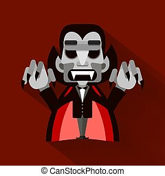 Cartoon cute Dracula in a cloak. Happy Halloween.