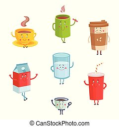 Cartoon cute drink characters isolated on white background. Cute happy mugs and containers of coffee, milk and soda.