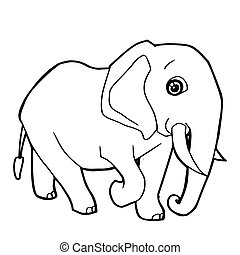 cartoon cute elephant coloring page vector