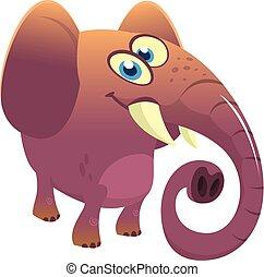 Cartoon cute elephant. Vector illustration