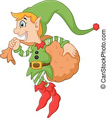 Cartoon cute elf boy with sack