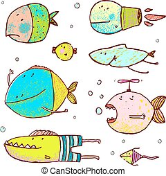 Cartoon Cute Fish Drawing Collection
