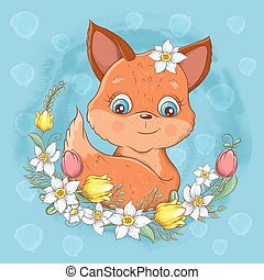 Cartoon cute fox portrait with a wreath of spring flowers hand drawing. Vector illustration