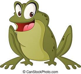 Cartoon cute frog. Vector illustration of funny happy animal.