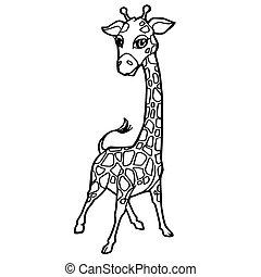 Giraffe coloring page. Cute giraffe opens birthday present.