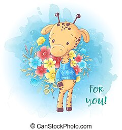 Cartoon Cute giraffe with a bouquet of flowers. Birthday card. Vector illustration