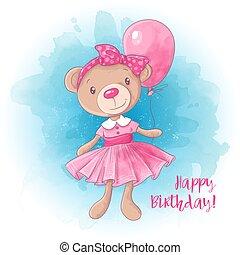 Cartoon cute girl bear with a balloon. Birthday card. Vector illustration