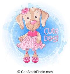 Cartoon cute girl doggie with a handbag in a pink dress. Vector illustration