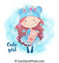 Cartoon cute girl with bear. Vector illustration