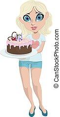 Cartoon cute girl with birthday cake