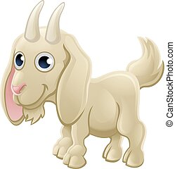 Cartoon Cute Goat Farm Animal
