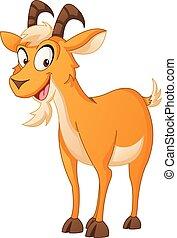 Cartoon cute goat. Vector illustration of funny happy animal.