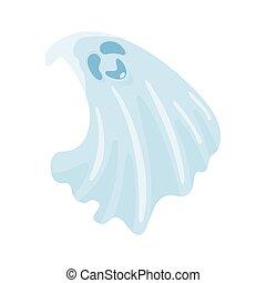 Cartoon cute halloween ghost. Vector illustration.