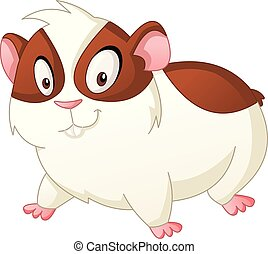 Cartoon cute hamster. Vector illustration of funny happy animal.