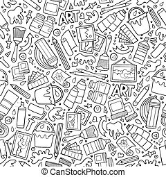 Cartoon cute hand drawn Artist seamless pattern - Cartoon...