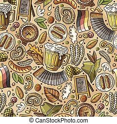 Cartoon cute hand drawn Beer fest seamless pattern