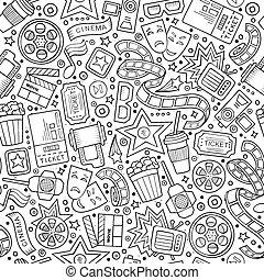 Cartoon cute hand drawn Cinema seamless pattern. Line art...