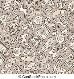 Cartoon cute hand drawn electric cars seamless pattern