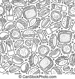 Cartoon cute hand drawn Fast food seamless pattern. Line art...