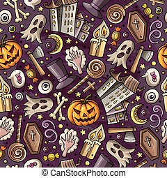 Cartoon cute hand drawn Halloween seamless pattern. Colorful...