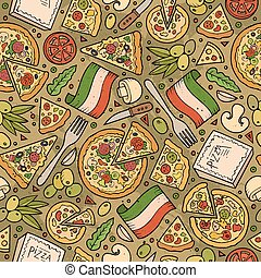 Cartoon cute hand drawn Italian food seamless pattern.
