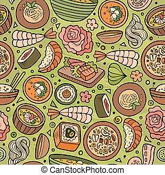 Cartoon cute hand drawn Japan food seamless pattern