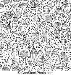 Cartoon cute hand drawn Picnic seamless pattern. Line art...