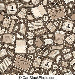 Cartoon cute hand drawn School seamless pattern