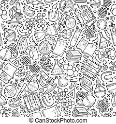 Cartoon cute hand drawn Science seamless pattern. Line art...