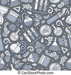Cartoon cute hand drawn Science seamless pattern