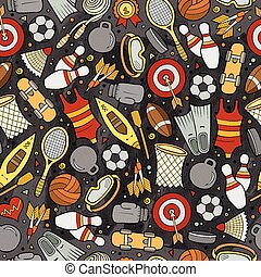 Cartoon cute hand drawn Sport seamless pattern. Colorful...
