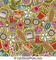 Cartoon cute hand drawn Spring season seamless pattern....
