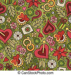 Cartoon cute hand drawn Valentine's Day seamless pattern....