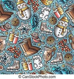 Cartoon cute hand drawn Winter season seamless pattern....